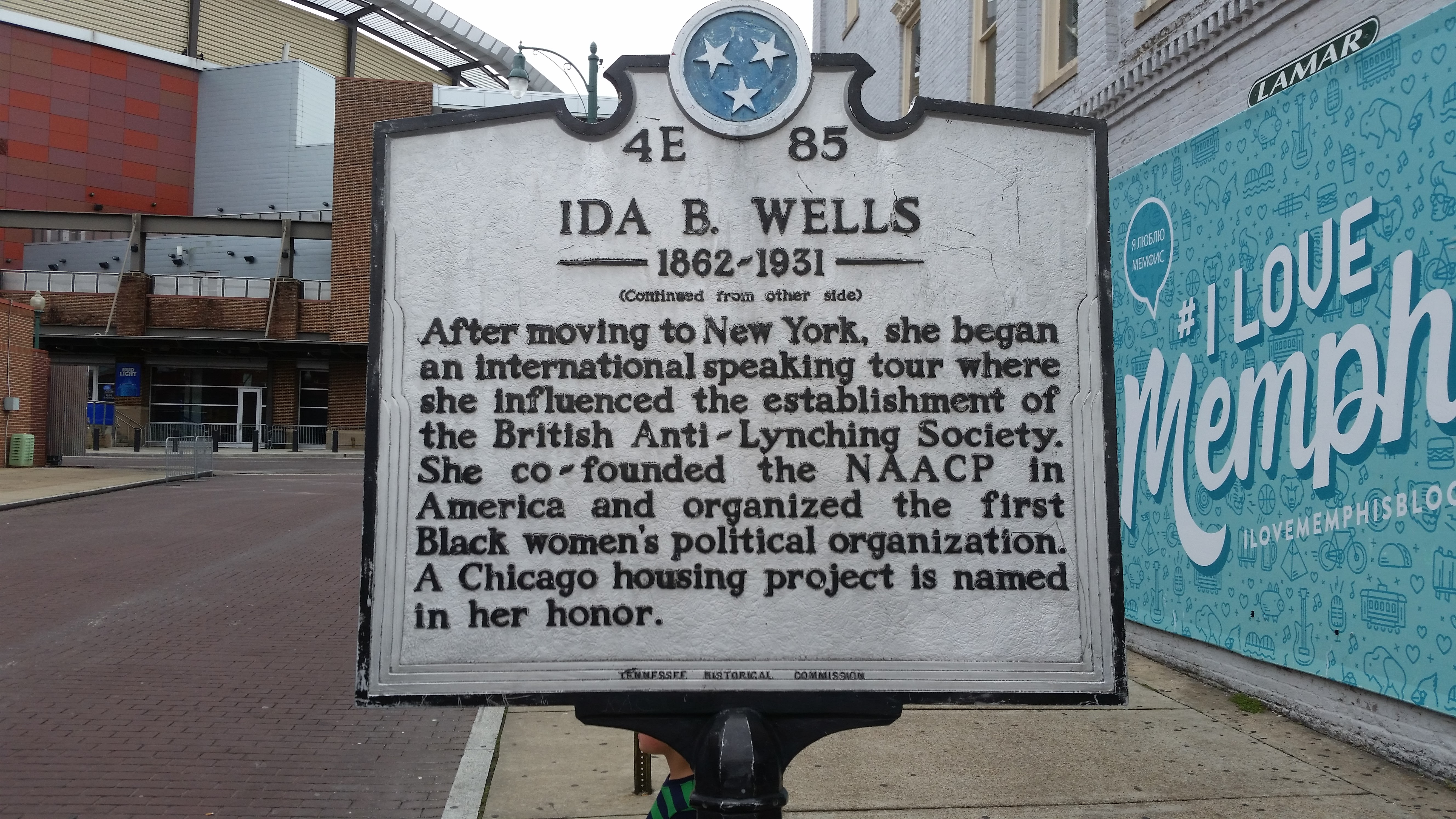 Ida B Wells Historical Marker mentioning the People's Grocery Lynching