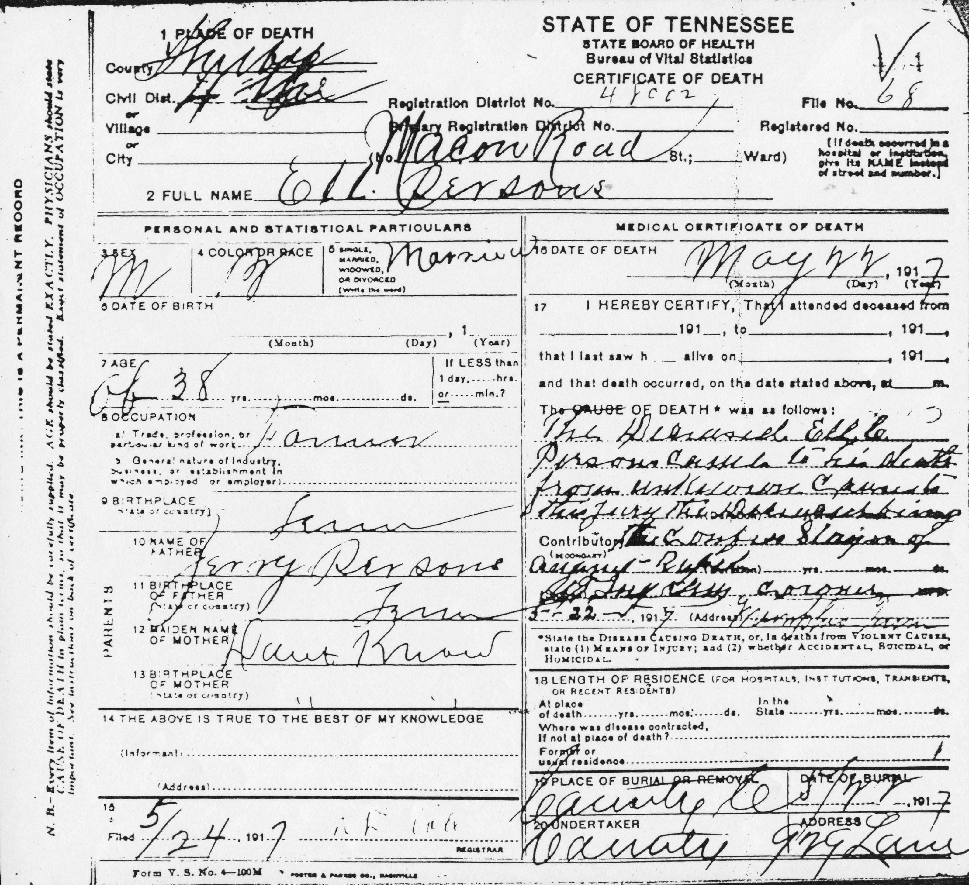 Ell Persons Death Certificate, 5/24/1917