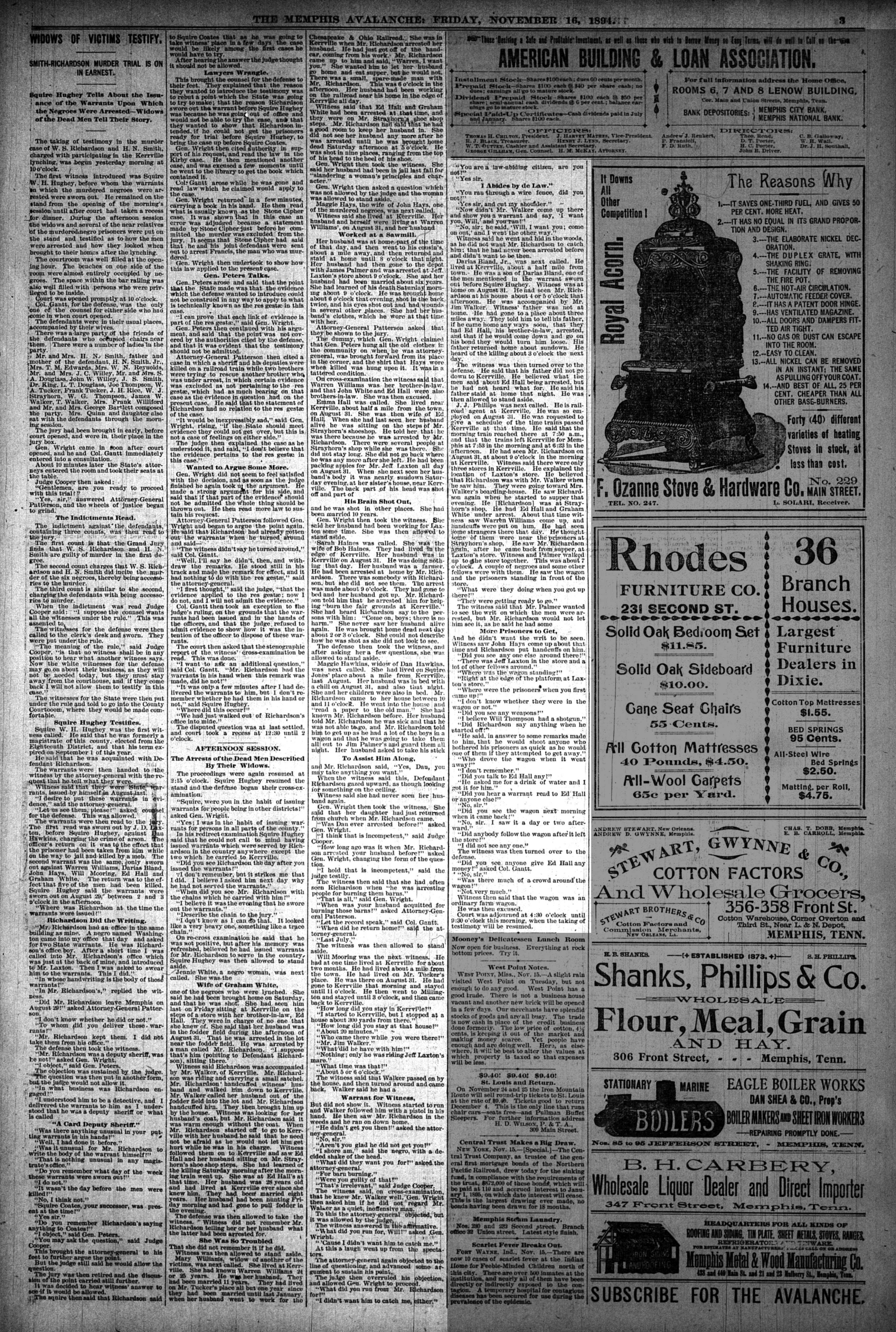 Memphis Avalanche, 11/16/1894