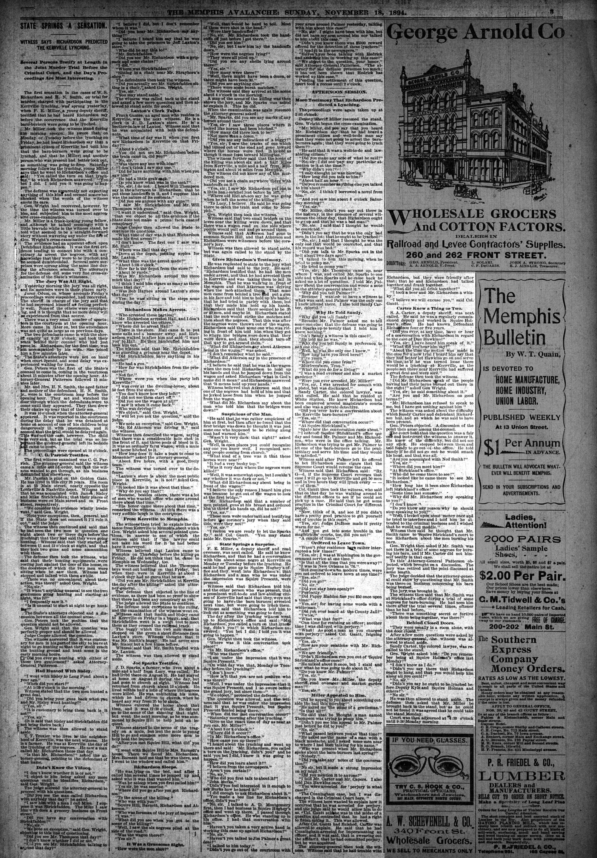 Memphis Avalanche, 11/18/1894
