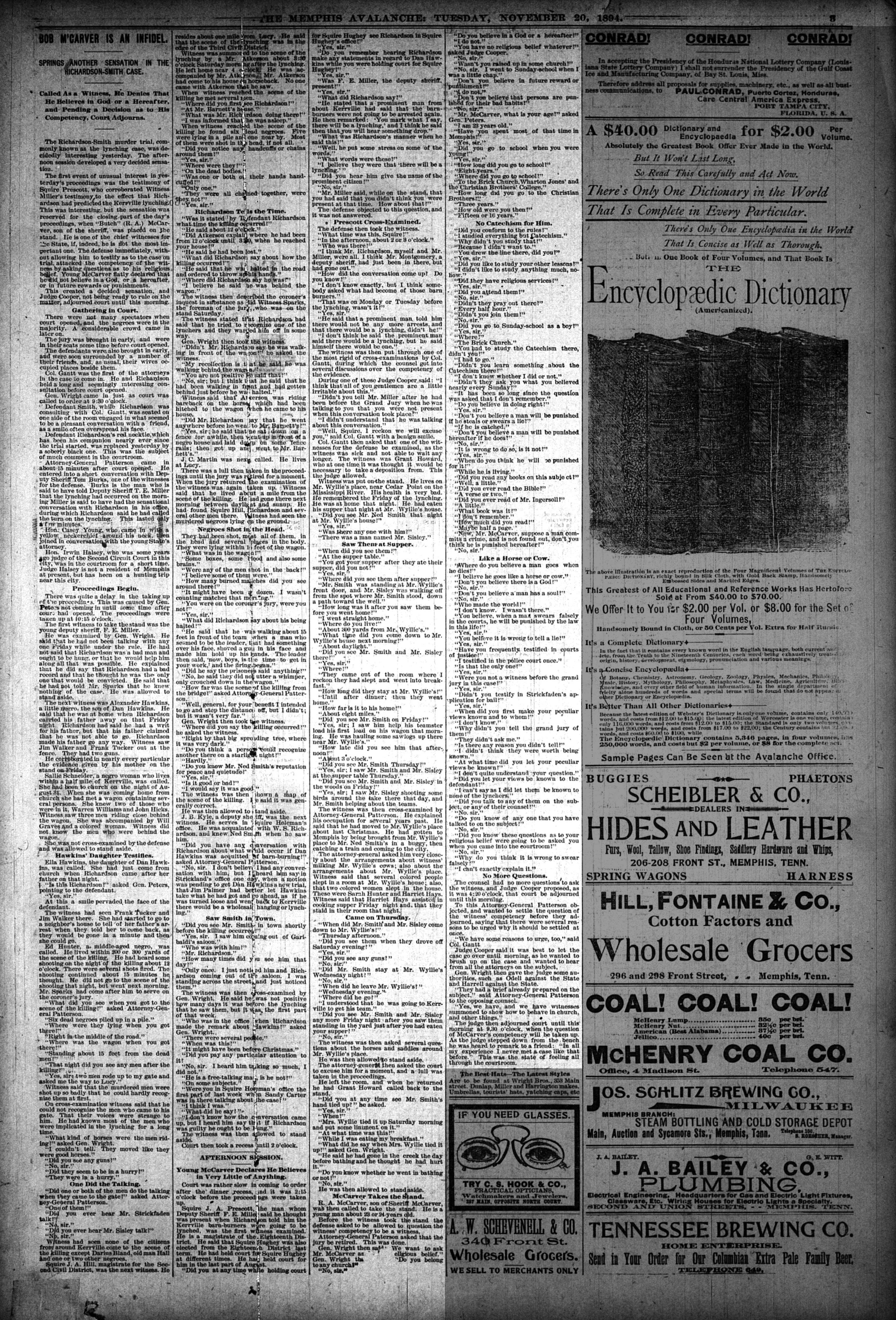Memphis Avalanche, 11/20/1894