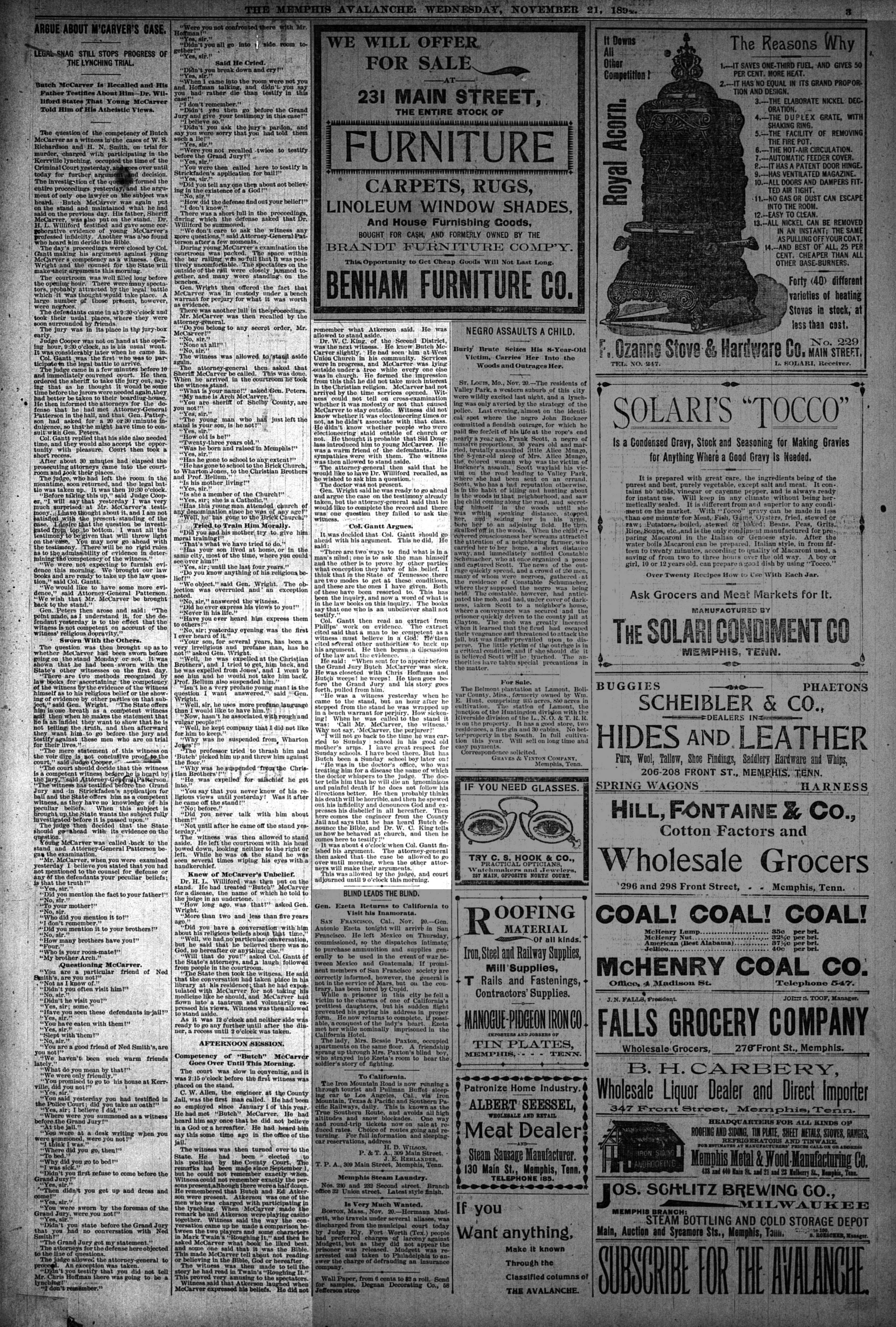 Memphis Avalanche, 11/21/1894