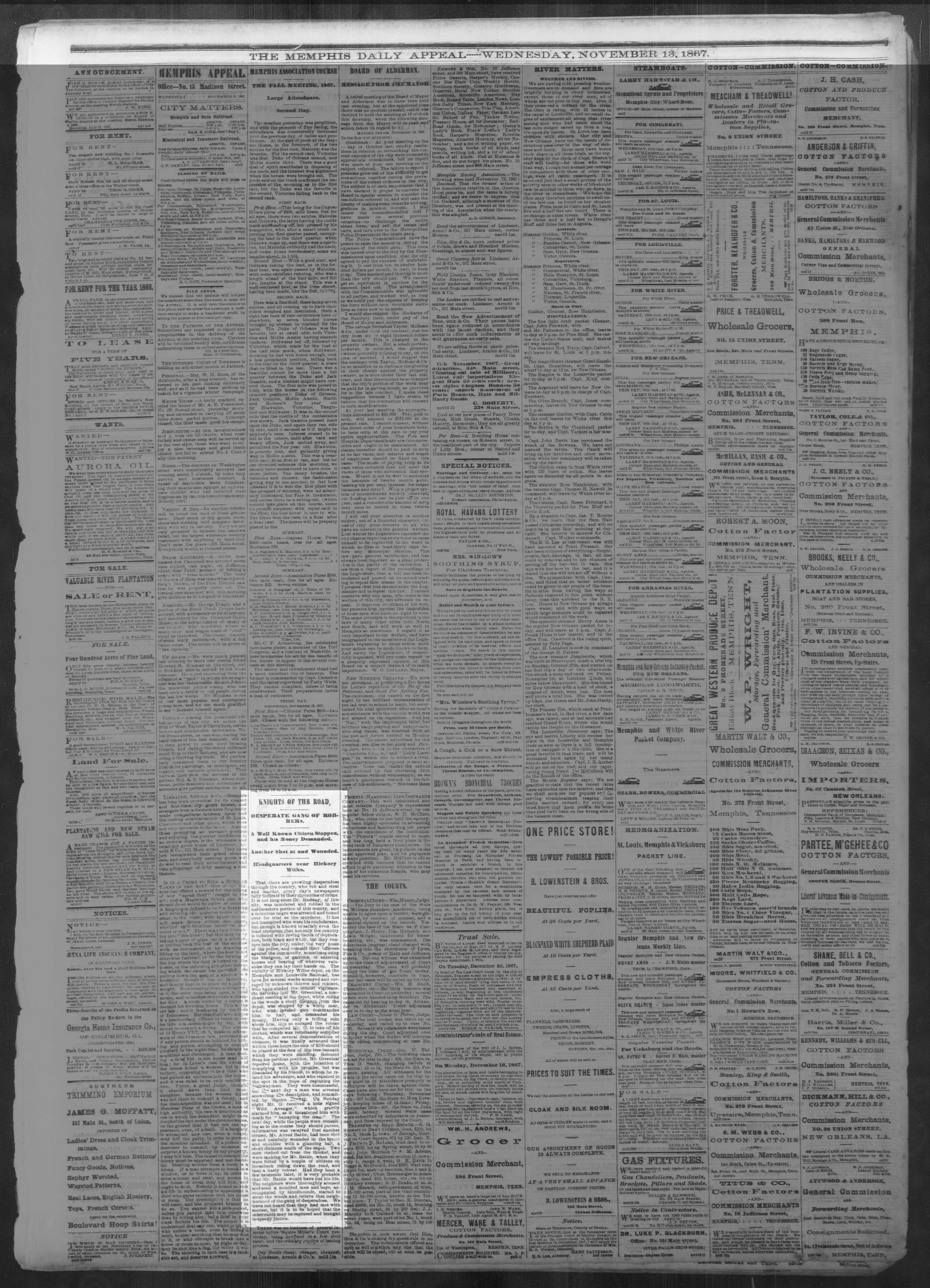 Memphis Daily Appeal, 11/13/1867