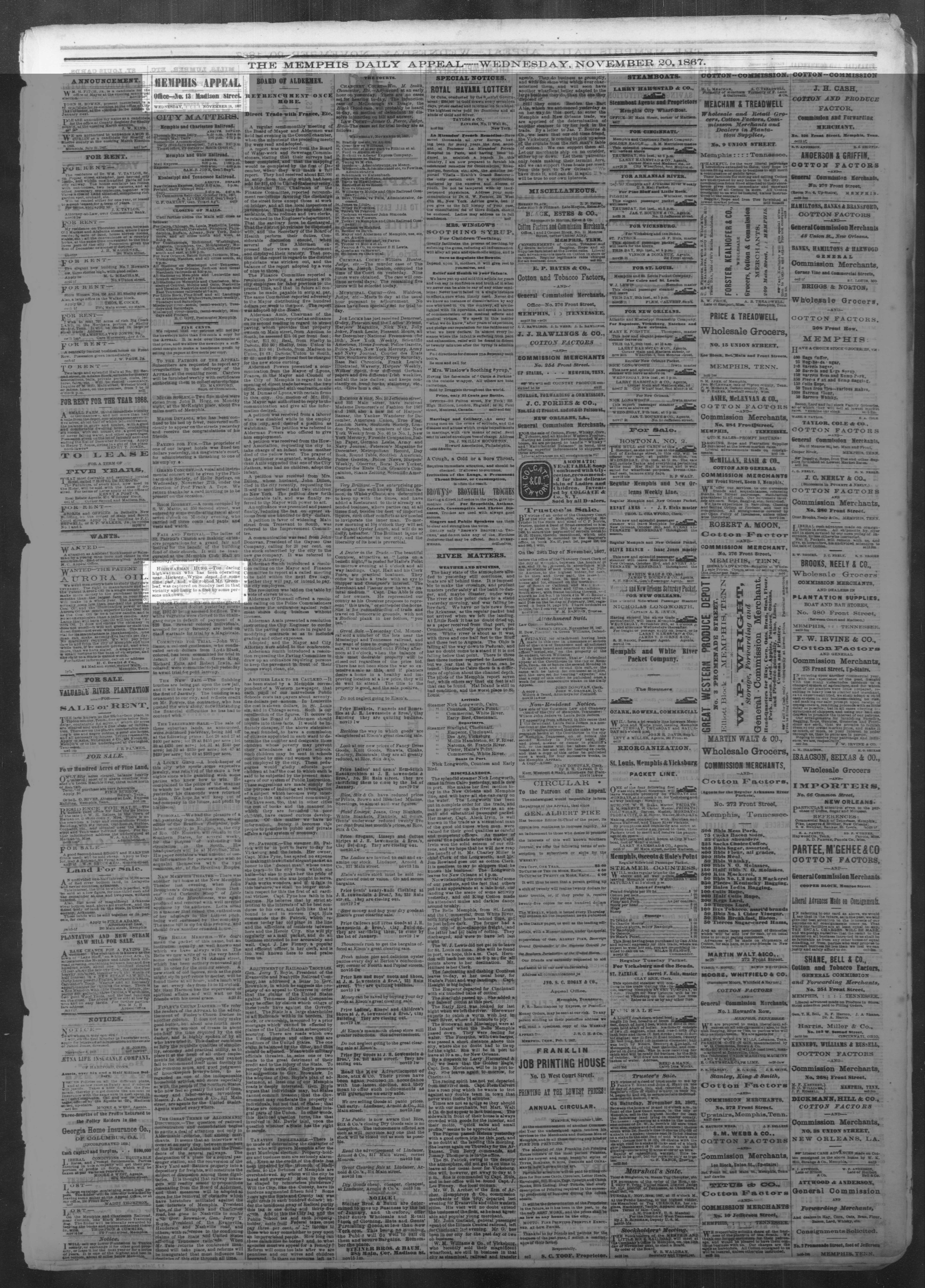 Memphis Daily Appeal, 11/20/1867