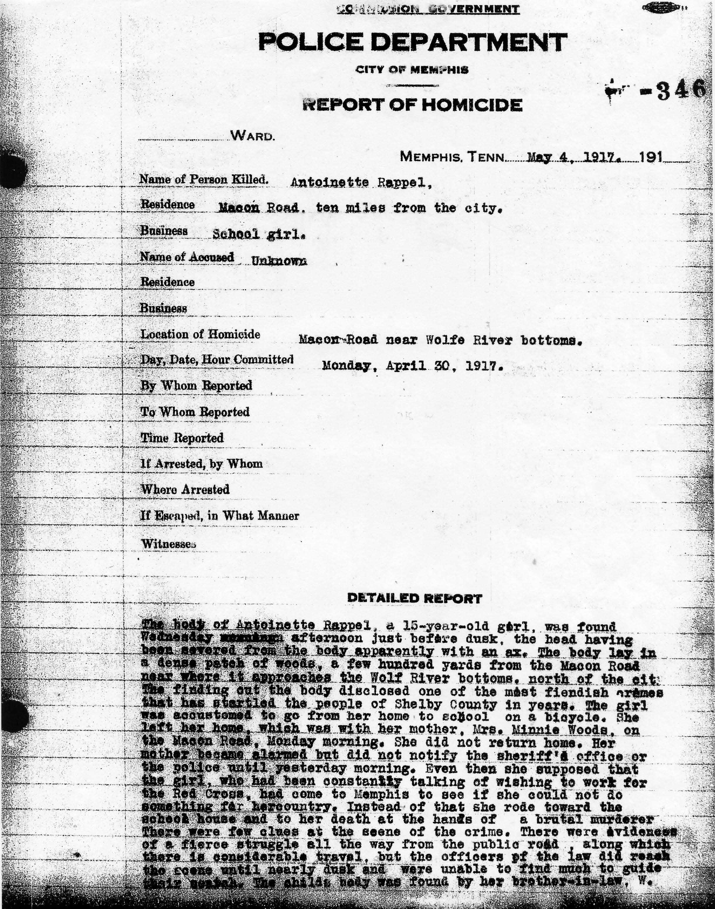 Police Report, 5/4/1917