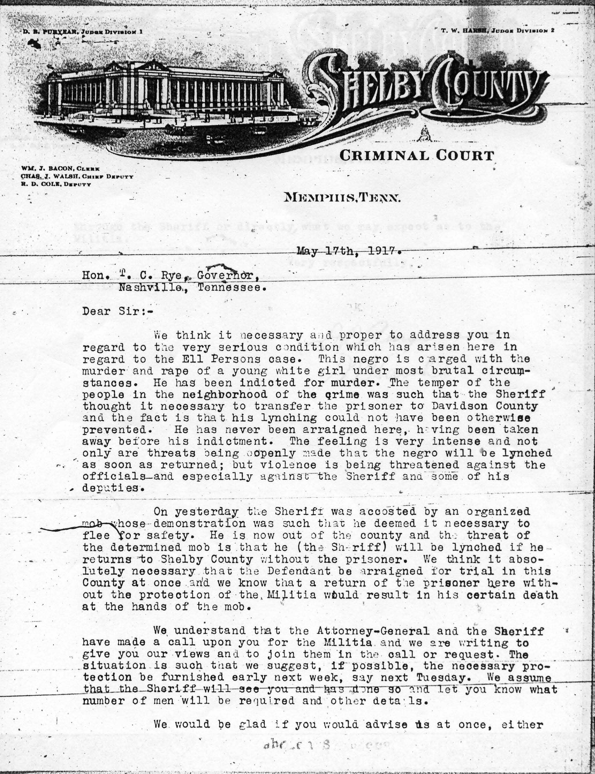 Request for Troops, 5/17/1917