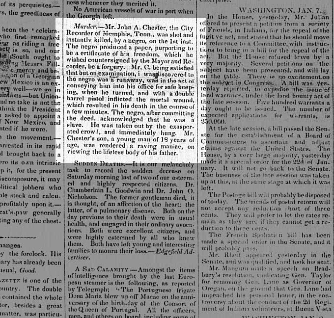 Sumter Banner, 1/15/1851